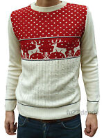 Christmas Xmas JUMPER vtg indie retro 70's kitsch novelty festive Red Reindeer