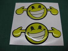 2 en dôme loud smiley autocollants V002 75mm x 35mm