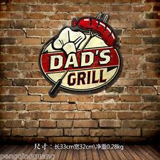 Retro Metal Tin Signs Dad's Grill Room Restaurant Wall Decor Handmade Poster