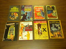 8 MYSTERY DETECTIVE vintage paperback lot 1950's/1960's Avon Rohmer Queen Pocket