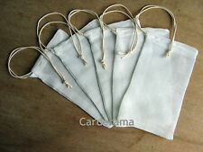 MUSLIN 100% COTTON INFUSION BAGS WITH FOOD SAFE DRAWSTRINGS HERB/SPICE PACK OF 5