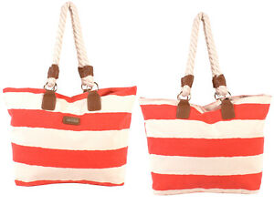 WOMEN'S FASHION SHOPPING BAG CANVAS LIGHT WEIGHT TRAVEL CABIN SIZE STRIPED NEW