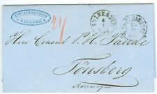 DENMARK/NORWAY: Unpaid cover Hamburg to Norway 1864.