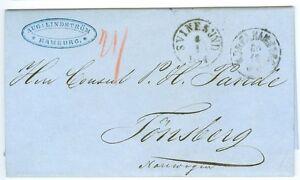 DENMARK/NORWAY: Unpaid cover Hamburg to Norway 1864.