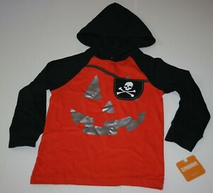 NEW Gymboree 8 yr Boys Top Hooded Halloween Pumpkin Face Jack-O-Lantern Orange