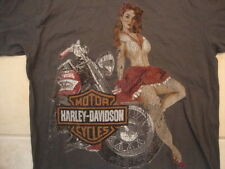Harley-Davidson Motorcycles Sexy Pin Up Girl Dallas TX Distressed T Shirt Size L