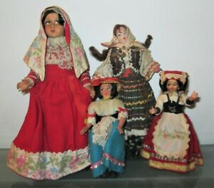 Lotto 4 Dolls IN Costume, for Collection Vintage