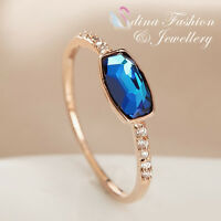 18K Rose Gold Plated Made With Swarovski Crystal Irregular Cut Delicate Ring