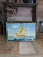 Large Antique Tin Litho Biscuit Cracker Tin Box with Hinged Lid Sailing Ships