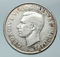 1943 CANADA UK King GEORGE VI Lions Crown Large Old SILVER 50 Cents Coin i85923