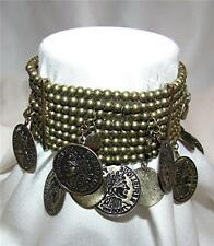 VINTAGE BRASS BEAD & THIN FAUX 1808 FRANCAISE COIN CHARM STRETCH BAND BRACELET