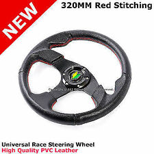 SCION TC XB SMART 320MM RED STITCHES RACE STEERING WHEEL WITH HORN BUTTON