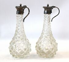 2x Vintage EPNS Lidded Cruet / Vinaigrette Cut Glass Spiky Bottles - R17