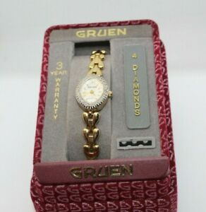 VINTAGE GRUEN 4 DIAMONDS QUATZ WRISTWATCH WATCH IN ORIGINAL BOX