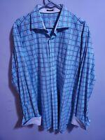 Bugatchi Uomo Classic Fit Gingham Check Flip Cuff Cotton Dress Shirt XL