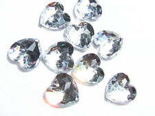 20 Clear Love Heart Faceted Beads Acrylic Rhinestones/Gems 16 mm Flat Back SewOn
