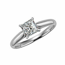 Princess Cut Solitaire Engagement Wedding Ring 1 Carat Solid 14k Real White Gold