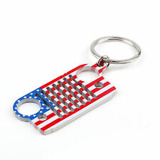 Stainless Steel American US Flag Limited Edition Jeep Grill Key Chain Key Ring