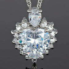 Xmas Women Jewel! Ocean Heart Cut White Fine Clear Topaz Pendant Necklace Chain