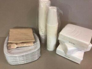 Bio Party SET Einweggeschirr Pappteller Holzbesteck Pappbecher Servietten S