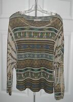 BLUE BIRD Tribal Print Top Shirt Long Sleeves Lightweight Large L