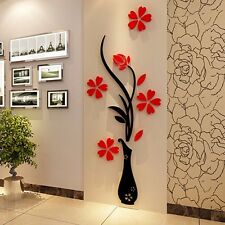 3D Mirror Flower Decal Wall Sticker DIY Removable Art Mural Home Room Deco UKGRL