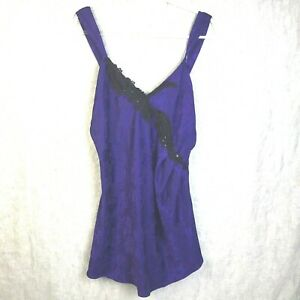 vintage Night Gown Chemise Purple With  Black Embellishments Flattering Cut