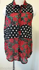 Minkpink Womens Blouse Top Medium Sleeveless Polka Dot Roses Button Down Front