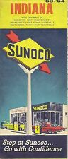 1963 SUNOCO Road Map INDIANA South Bend Evansville Fort Wayne Indianapolis Gary