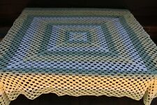 Vintage Handmade Crochet Open Weave Afghan/Throw/Bedspread Sage Yellow White