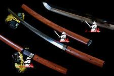 clay tempered T10steel blade redwood shirasaya katana sword razor sharp edge NEW