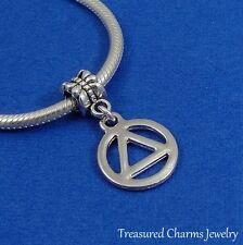 Silver RECOVERY Symbol Dangle Bead CHARM AAA Rehab fits EUROPEAN Bracelet