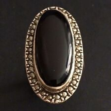 Bague Ancienne Argent 952 Onyx Marcassites T 52 - Silver French Ring