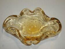 "Vintage Murano Art Glass Barbini YELLOW Bowl Bullicante 9"""