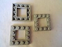 LEGO PART 64799 LIGHT BLUISH GREY 4 x 4 MODIFIED PLATE WITH 2 x 2 CUTOUT x 3