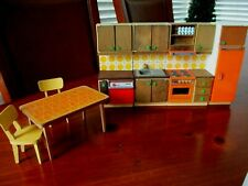 Vtg 7 pc Lundby Dollhouse Furniture Kitchen Set Cabinets Appliances Table Chairs