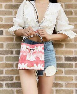 Michael Kors Suri Mini Bucket Bag Crossbody Red White Tie Dye Graphic Logo MK
