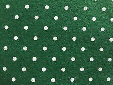 2 Sheets of Wool Blend Felt (Dark Green with Polka Dots)