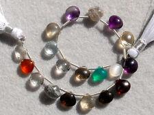 41ctw Amethyst Crystal Green Onyx Garnet Scapolite Smoky Quartz Heart Beads