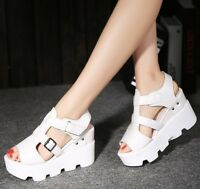 Womens Platform Wedge Heels Slingbacks Summer Sandals Casual Roman Sneaker Shoes