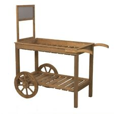 Two Wheel Wooden Slat Cart Garden Shop Party