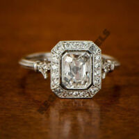 unique design 14k white gold over 2ct round diamond radiant vintage wedding ring