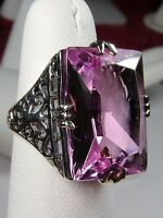 30ct Big Sim Pink Topaz Sterling Silver Vintage Filigree Ring (Made To Order)