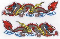 LOT 2 AUTOCOLLANT STICKER TUNING DRAGON CHINOIS DIMENSIONS 24 X 7 CM