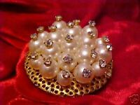 Vintage Rhinestone Tipped Faux Pearl Pin Brooch Gold
