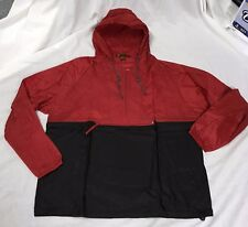 NEW Mens Lightweight Packable Pullover Windbreaker Nylon Jacket Red/Black L