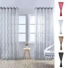 1PC Sheer Curtain Leaves Printed Drape Panel Door Balcony Bedroom Window Gauze