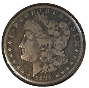 1891-CC MORGAN SILVER DOLLAR NICE FINE F — CARSON CITY — NO RESERVE!!