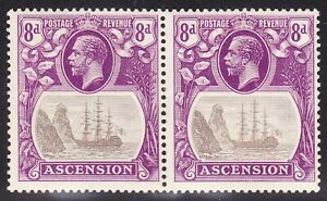 """Ascension 1924-33 8d VAR """"BROKEN MAINMAST"""" IN PAIR WITH NORMAL SG17a FINE MH"""