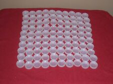 Lots of 100 plus Water Bottle Plastic  Caps Clear White  / Craft Supplies